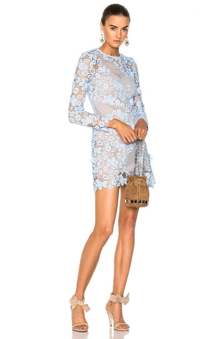 Self Portrait 3d Floral Mini Blue Dress We Select Dresses