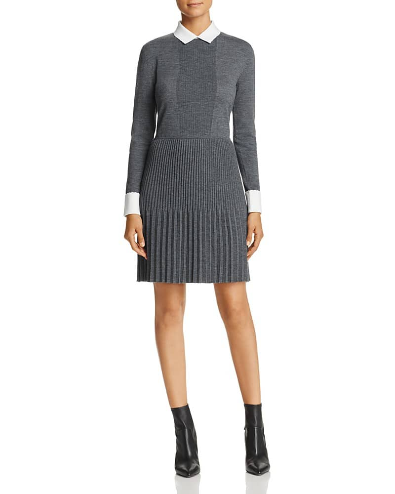 Tory Burch Sabina Pleated Merino Wool Sweater Dress We
