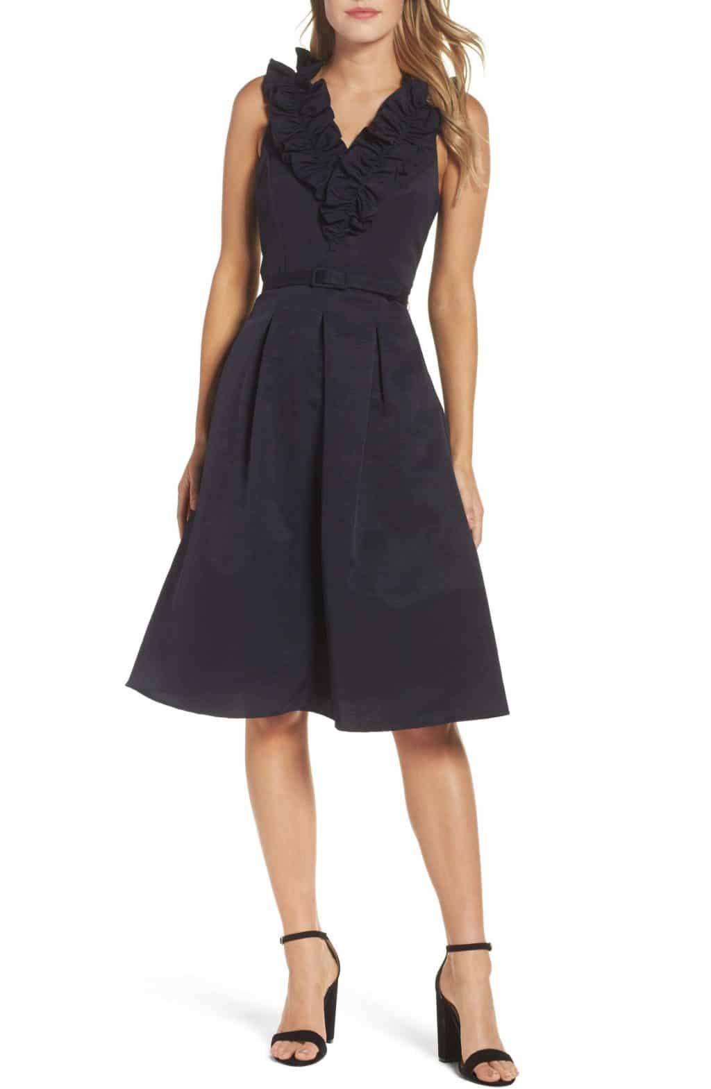 ELIZA J Fit & Flare Navy Dress