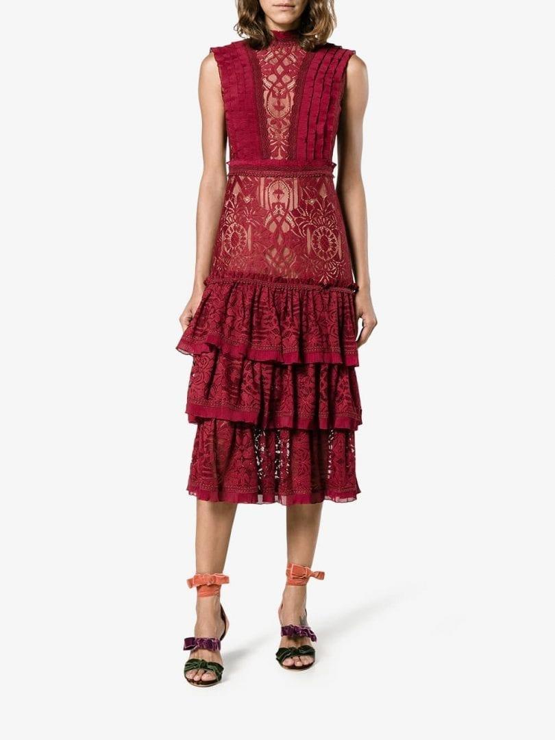 Jonathan Simkhai Ruffled Tiered Red Lace Dress We Select