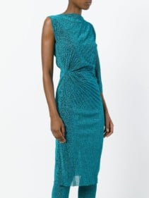 A.F.VANDEVORST Asymmetric Pleated Blue Dress