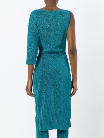 A.F.VANDEVORST Asymmetric Pleated Blue Dress