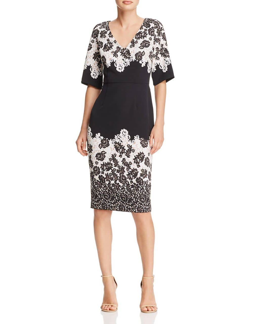 90a5db1fe00b ADRIANNA PAPELL Lace Print Sheath Black / Multi Dress - We Select ...