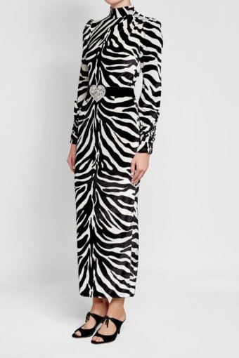 ALESSANDRA RICH Silk with Printed Velvet Black White Animal Print Gown