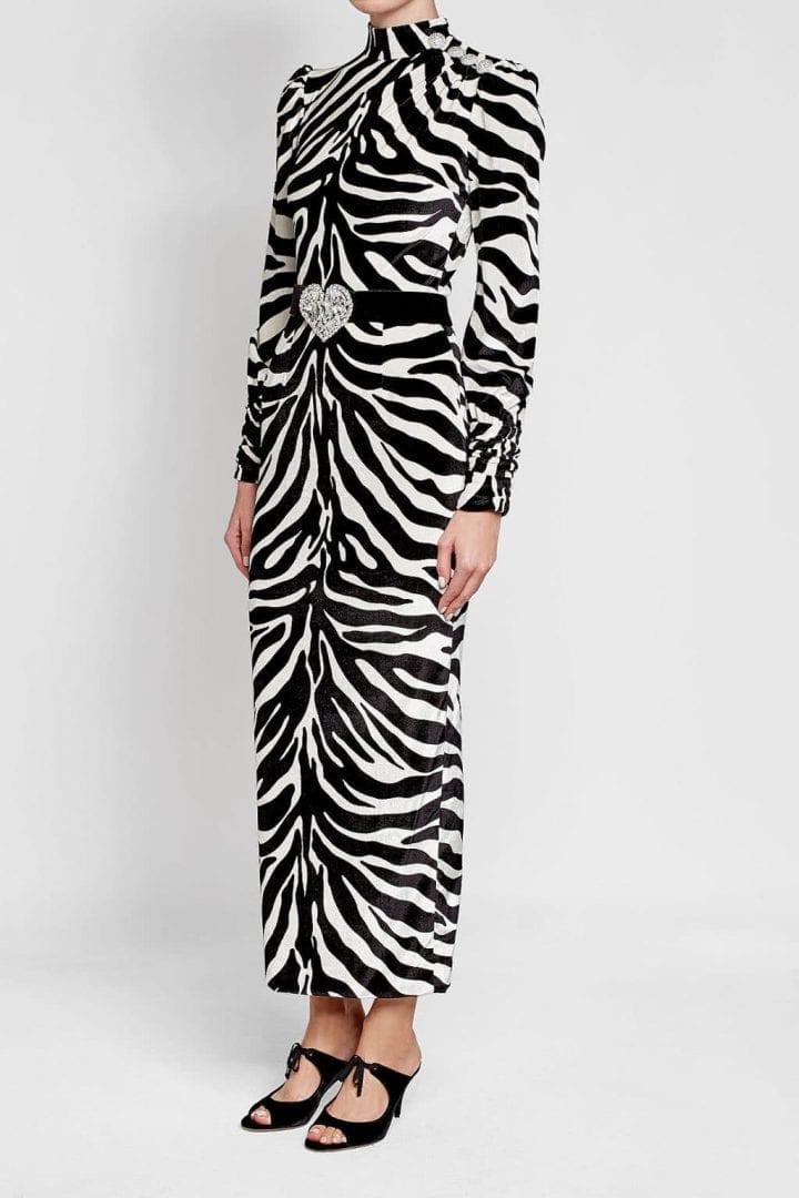 8fd9cc5aae84 ALESSANDRA RICH Silk with Printed Velvet Black / White Animal Print ...