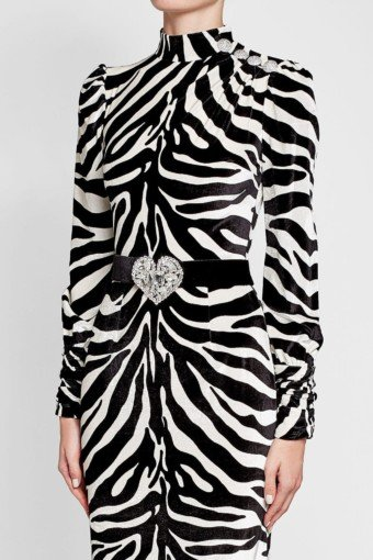 ALESSANDRA RICH Silk with Printed Velvet Black White Animal Print Gown