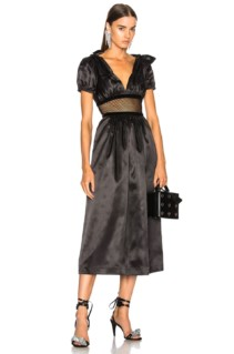 ALEXACHUNG Mesh Waist Maxi Black Dress