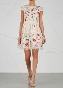 ALICE + OLIVIA Ariel Embroidered Lace Beige Dress