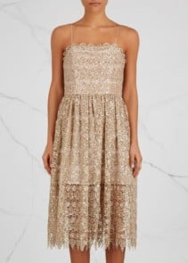 ALICE + OLIVIA Embellished Lace Midi Alma Sequin Dress