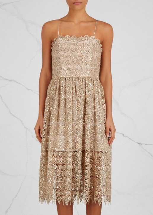 ALICE + OLIVIA Embellished Lace Midi Alma Sequin Dress