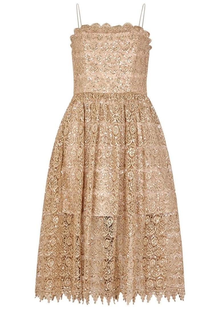 ALICE + OLIVIA Embellished Lace Midi Alma Sequin Gold ...