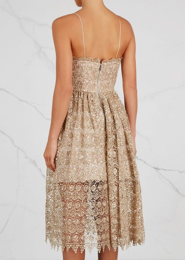 Alice Olivia Embellished Lace Midi Alma Sequin Dress