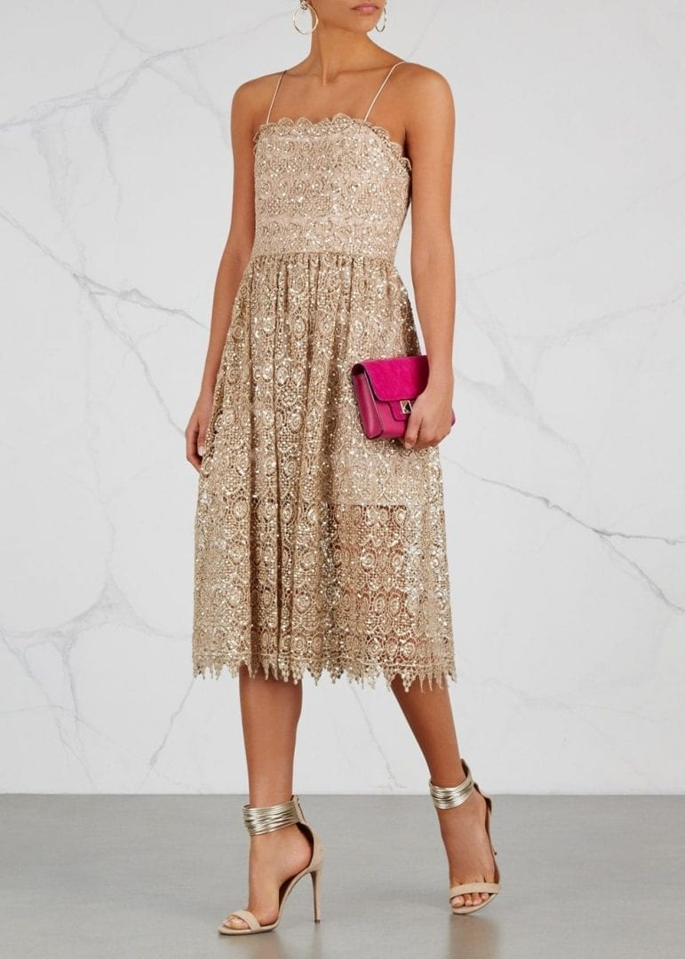 ALICE + OLIVIA Embellished Lace Midi Alma Sequin Gold Dress - We ...