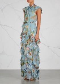 ALICE + OLIVIA Lessie Fil Coupé Chiffon Maxi Blue / Floral Printed Dress