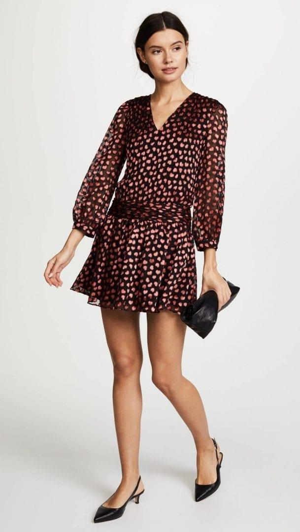 ALICE + OLIVIA Tessie Drop Waist Black / Mini Hearts Printed Dress ...