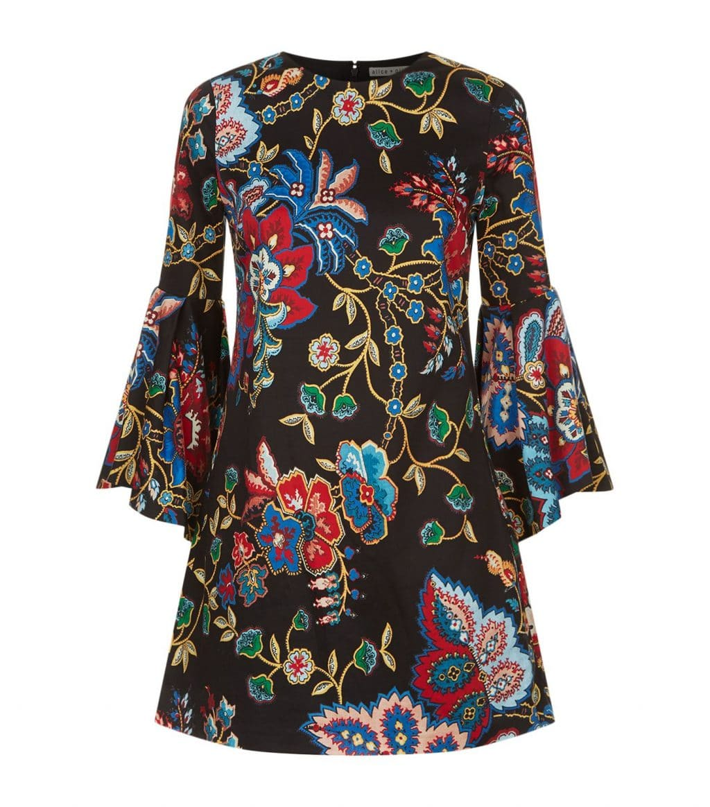 ALICE + OLIVIA Thym Trumpet Sleeve Multi / Floral Dress
