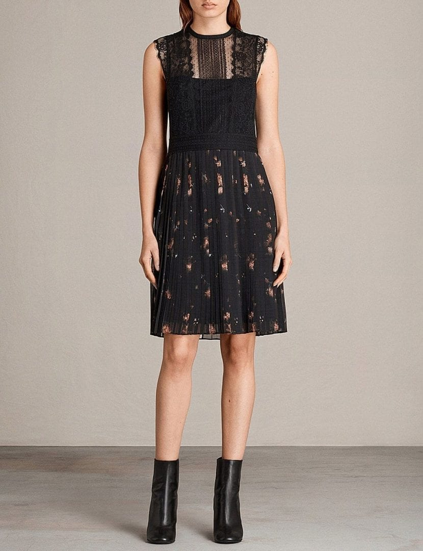 ALLSAINTS Milen Lace And Chiffon Black Dress