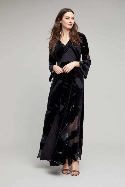 ANTHROPOLOGIE Selina Velvet Maxi Black Dress