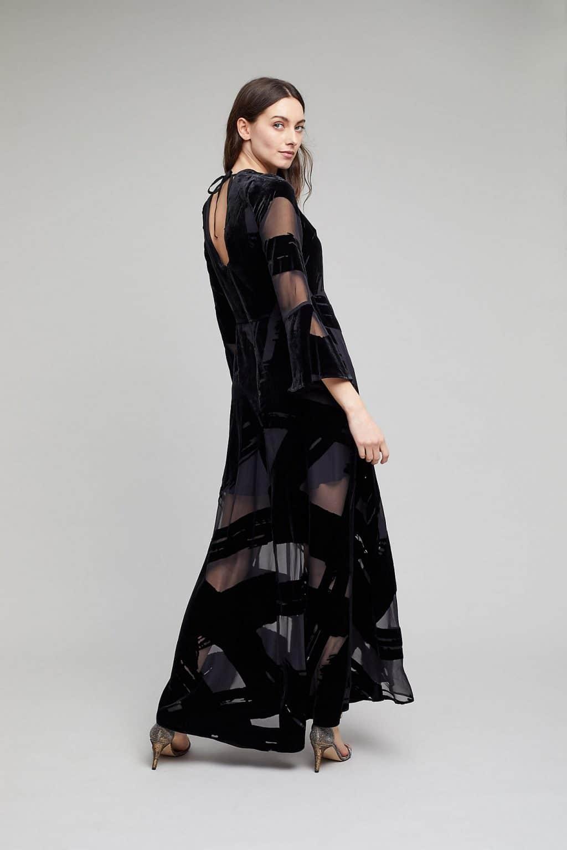 acda4badeb1d ANTHROPOLOGIE Selina Velvet Maxi Black Dress - We Select Dresses
