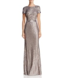 AQUA Belted Sequin Silver / Taupe Gown