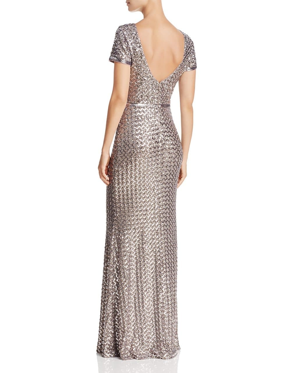 AQUA Belted Sequin Silver / Taupe Gown - We Select Dresses