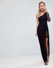 ASOS Dobby One Sleeve Maxi Black Dress
