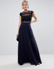 ASOS Lace Frill Sleeve with Lace Maxi Navy Dress