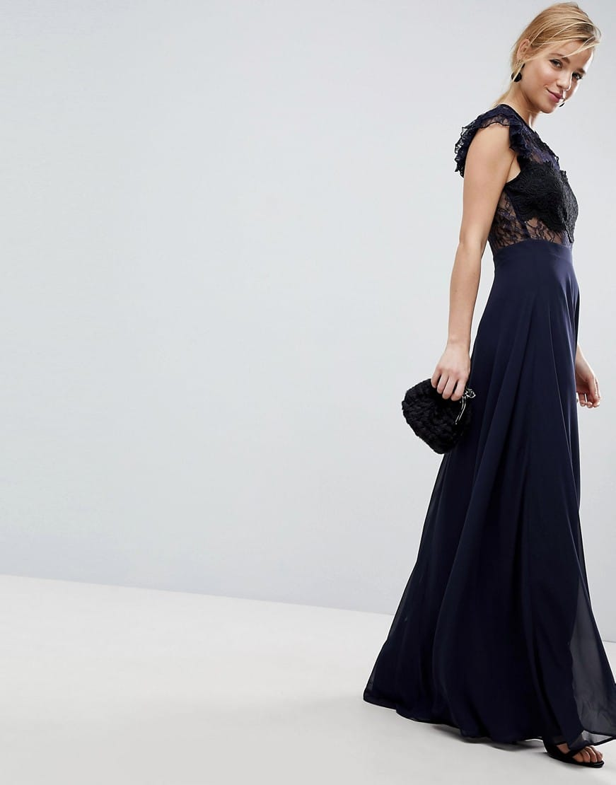 806c9bdc59d ASOS Lace Frill Sleeve with Lace Maxi Navy Dress - We Select Dresses