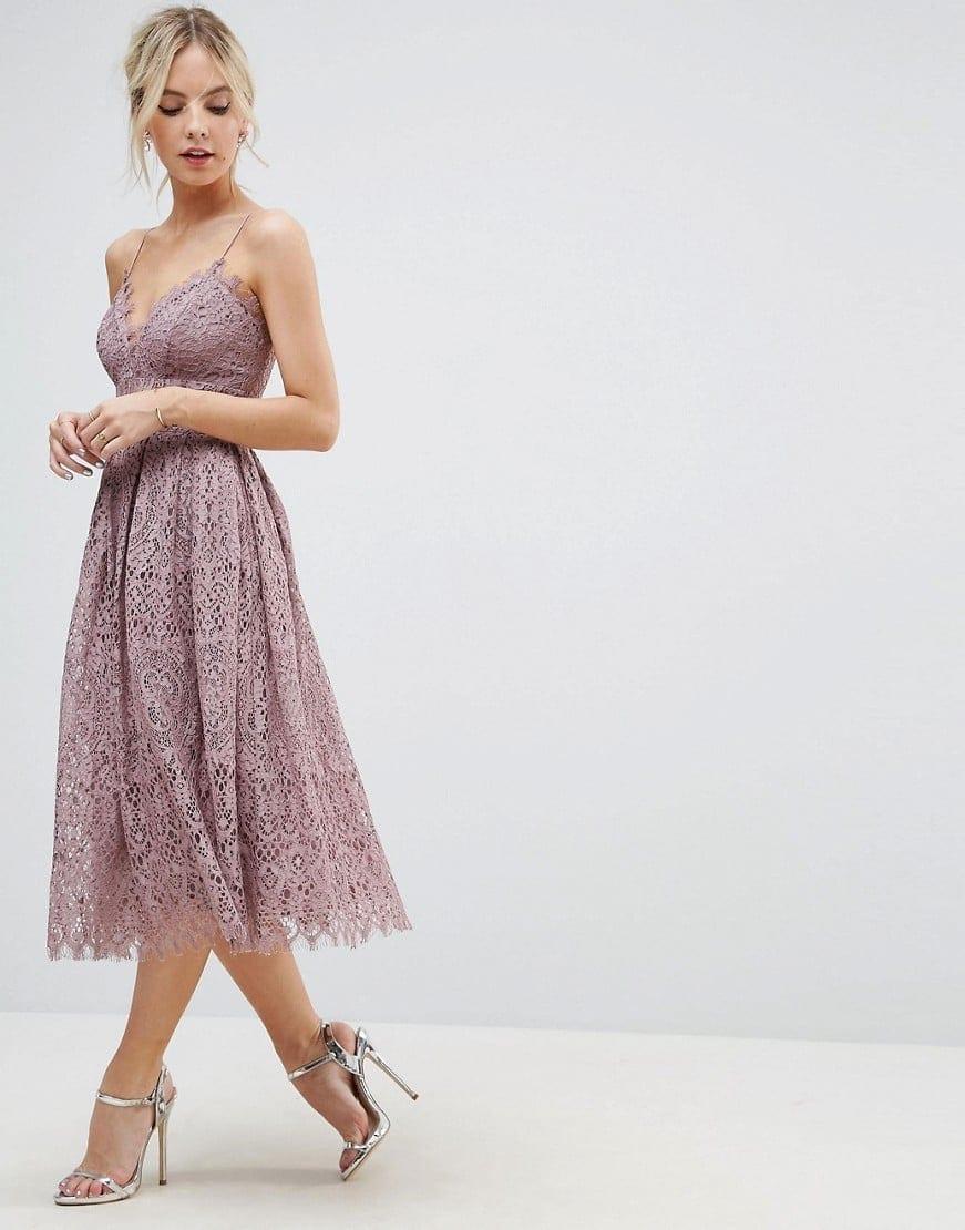 Asos Pee Lace Cami Midi Prom Dusky Lilac Dress
