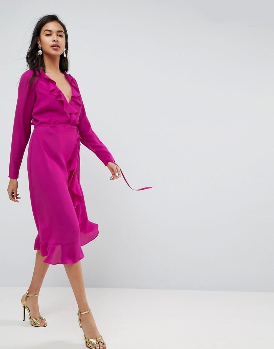 e2b3cc3e5b ASOS Ruffle Wrap Midi Magenta Dress - We Select Dresses