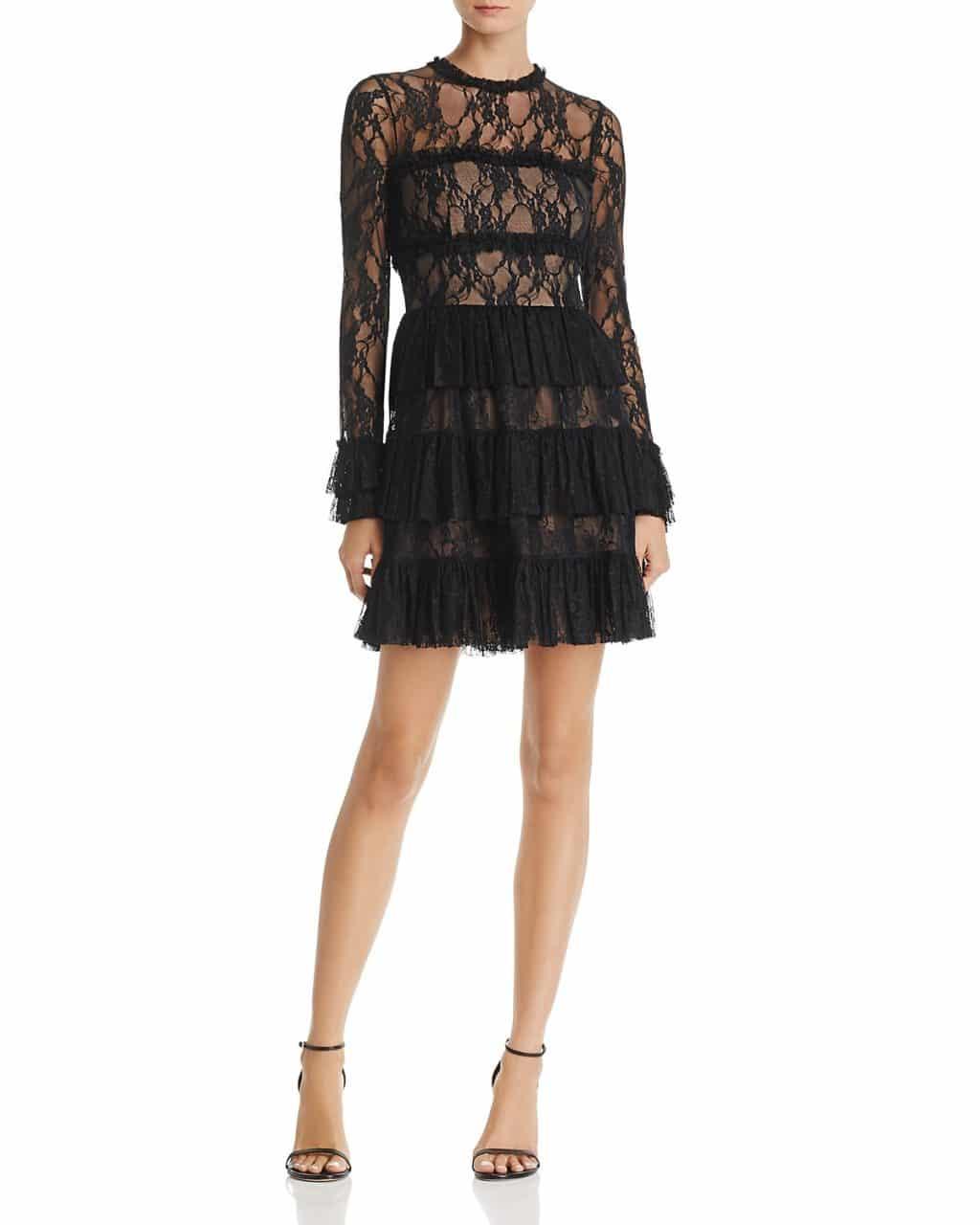 BAILEY 44 Feeding Circle Ruffled Lace Black Dress
