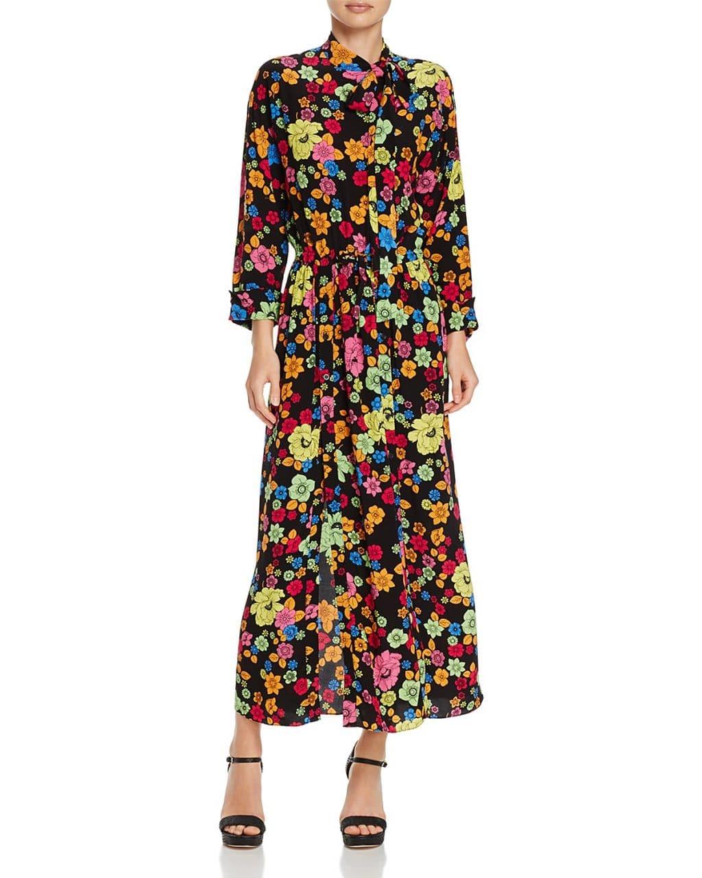 d22d0334b4a BOUTIQUE MOSCHINO Silk Maxi Fantasy Print Black   Floral Printed Dress