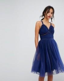 CHI CHI LONDON Tulle Midi Lace Navy Dress