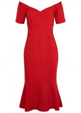 CINQ À SEPT Marta Off-the-shoulder Midi Red Dress