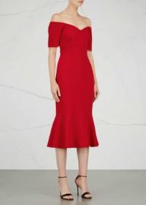 CINQ À SEPT Marta Off-the-shoulder Midi Red Dress