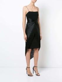CINQ A SEPT Fringe Hem Black Dress