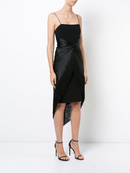 CINQ A SEPT Fringe Hem Black Dress