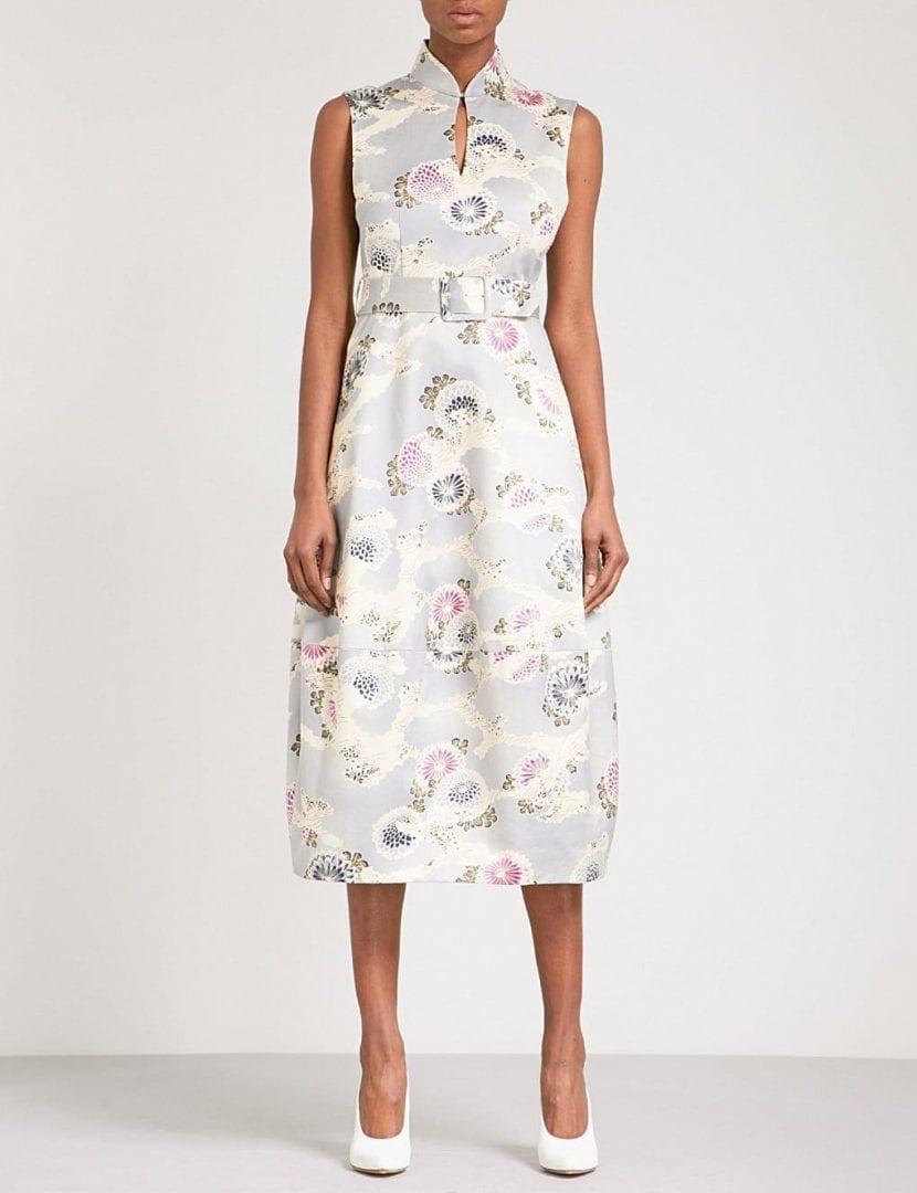 a053f4d69404 CO High Neck Cotton Chrysanthemum / Floral Printed Dress