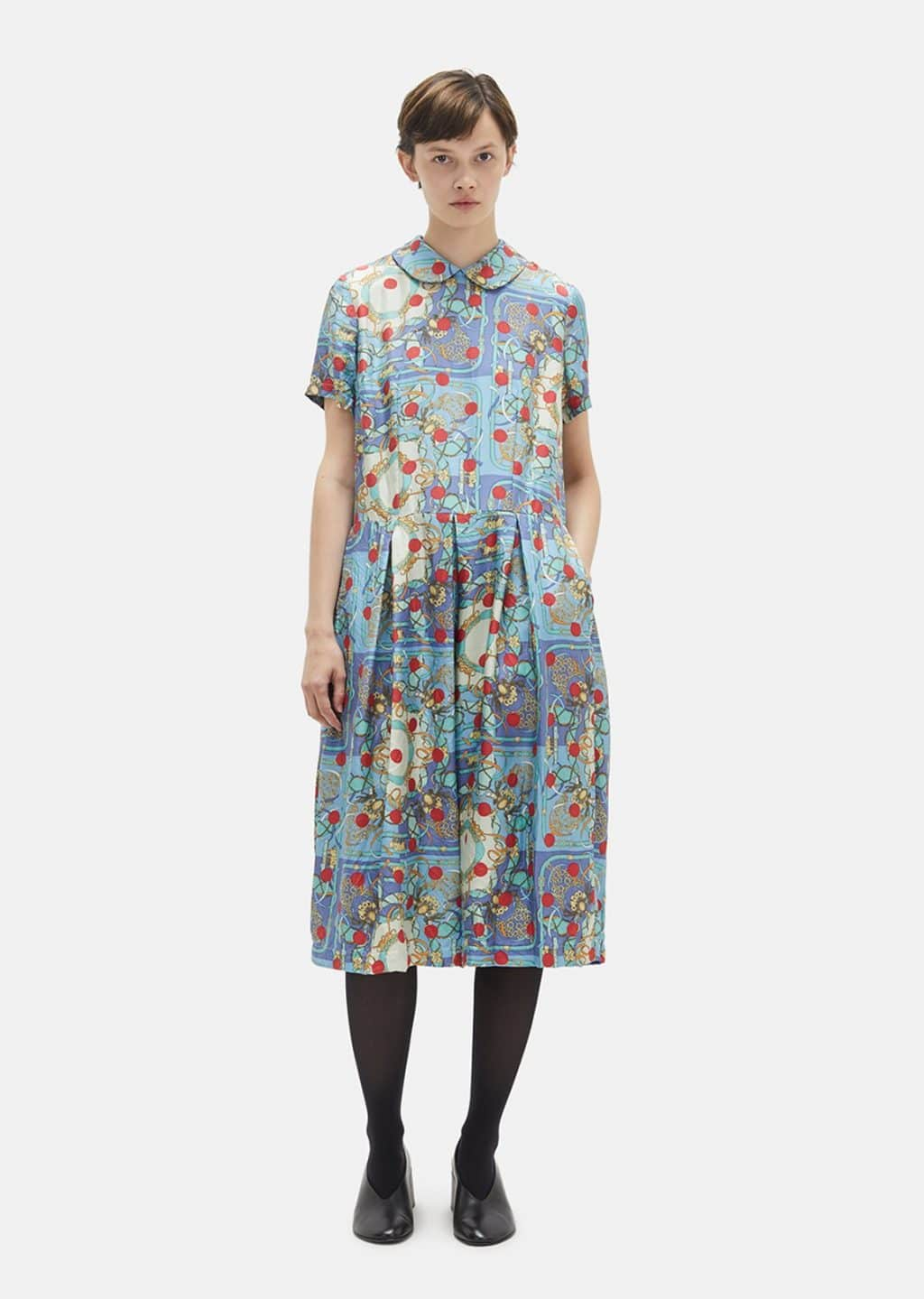 9364e6c0 COMME DES GARÇONS COMME DES GARÇONS 20 Momme Silk Blue / Printed Dress
