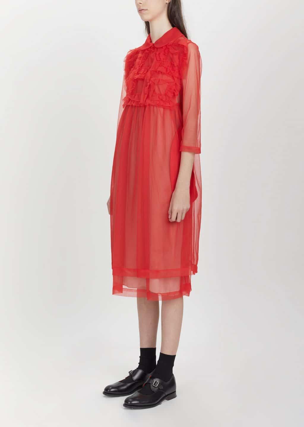 Comme Des GarÇons Nylon Half Tricot Red Dress