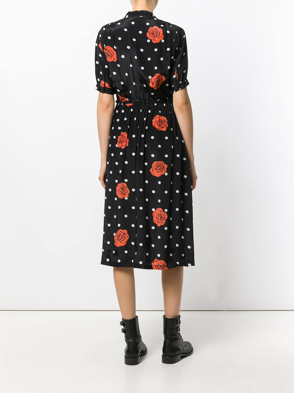 DIESEL Rose Polka Dot Wrap Black Dress