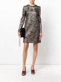 DOLCE & GABBANA Bow Brocade Green Sequined Dress