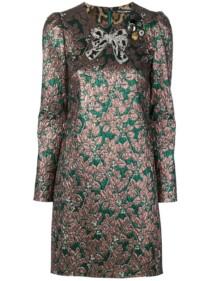 DOLCE & GABBANA Bow Brocade Green Sequined Dress
