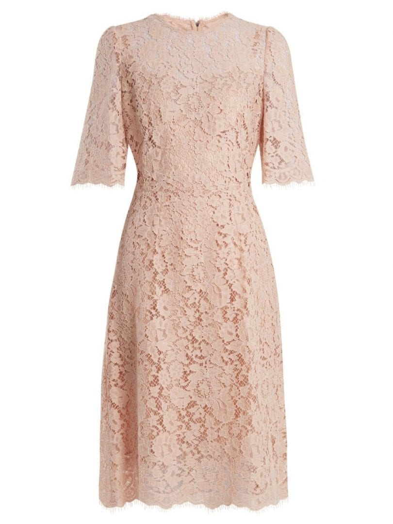 209c7123aa DOLCE   GABBANA Cordonetto Lace Midi Blossom Pink Dress - We Select ...