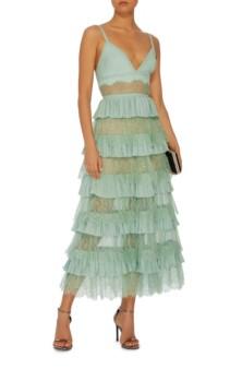 ELIE SAAB Tiered Midi Lagoon Dress