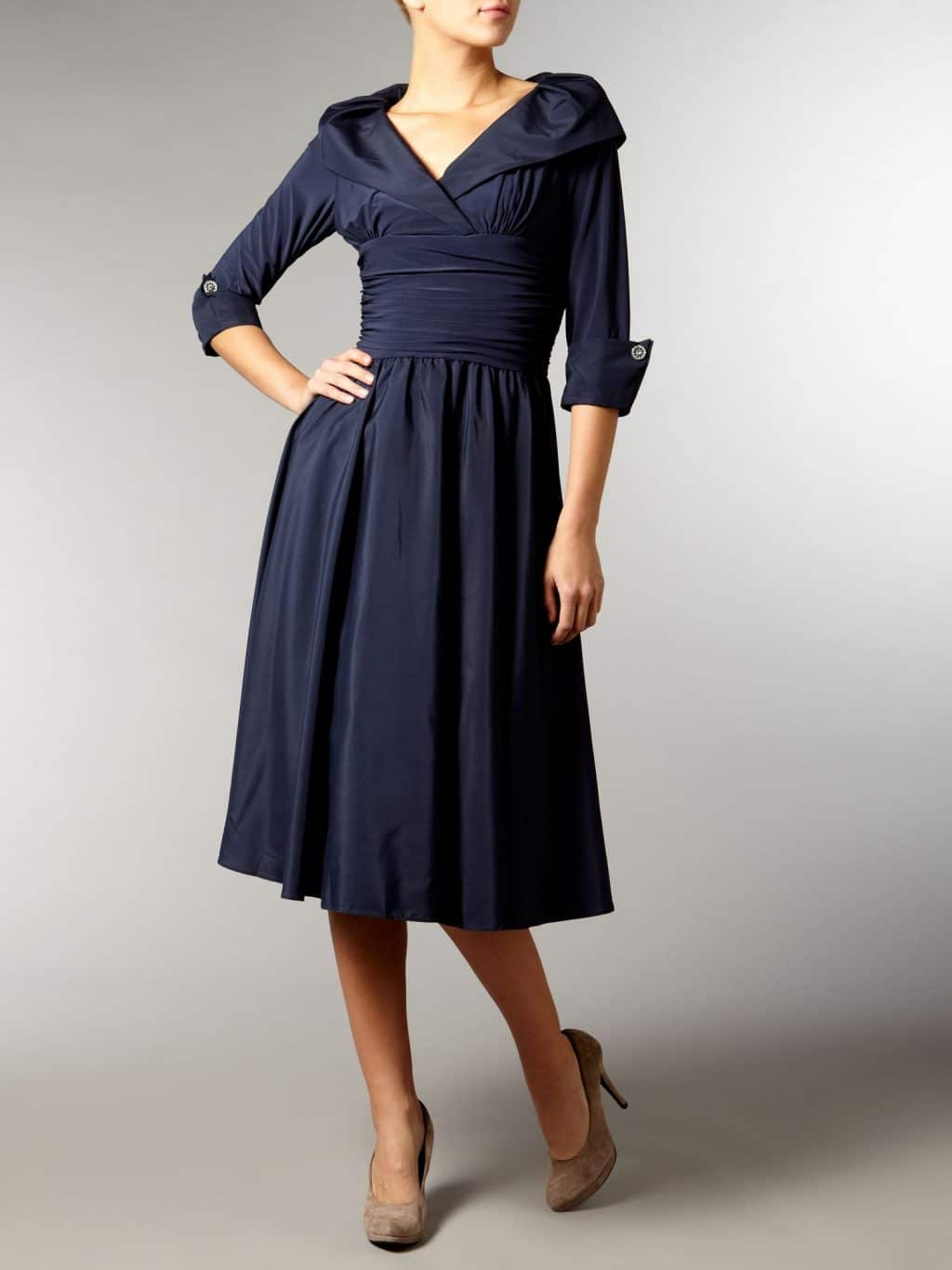 ELIZA J Cuff Sleeve V Neck Ruched Waist Navy Dress - We Select Dresses