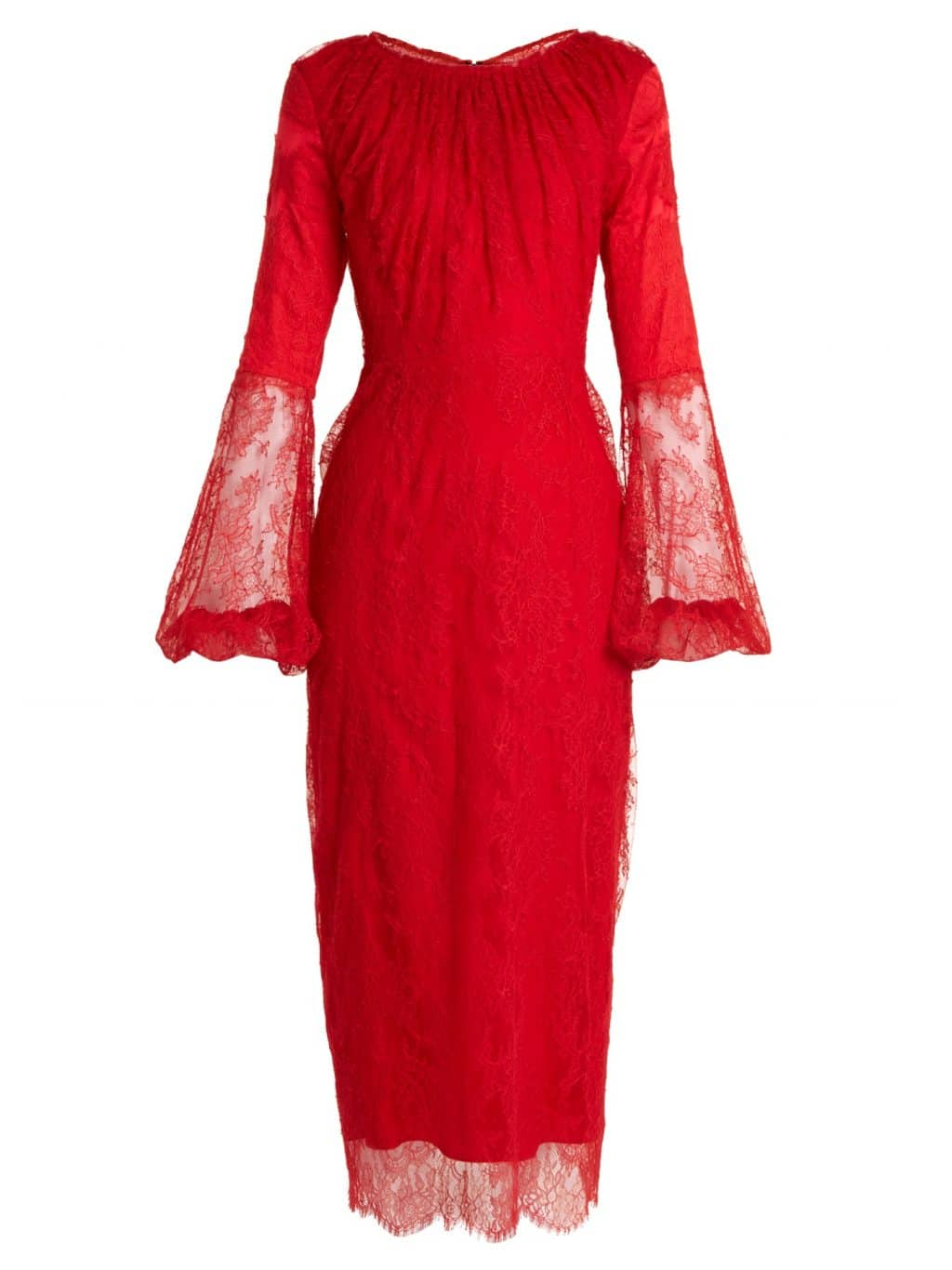 EMILIO DE LA MORENA Round Neck Balloon Sleeved Silk Blend Lace Red Dress