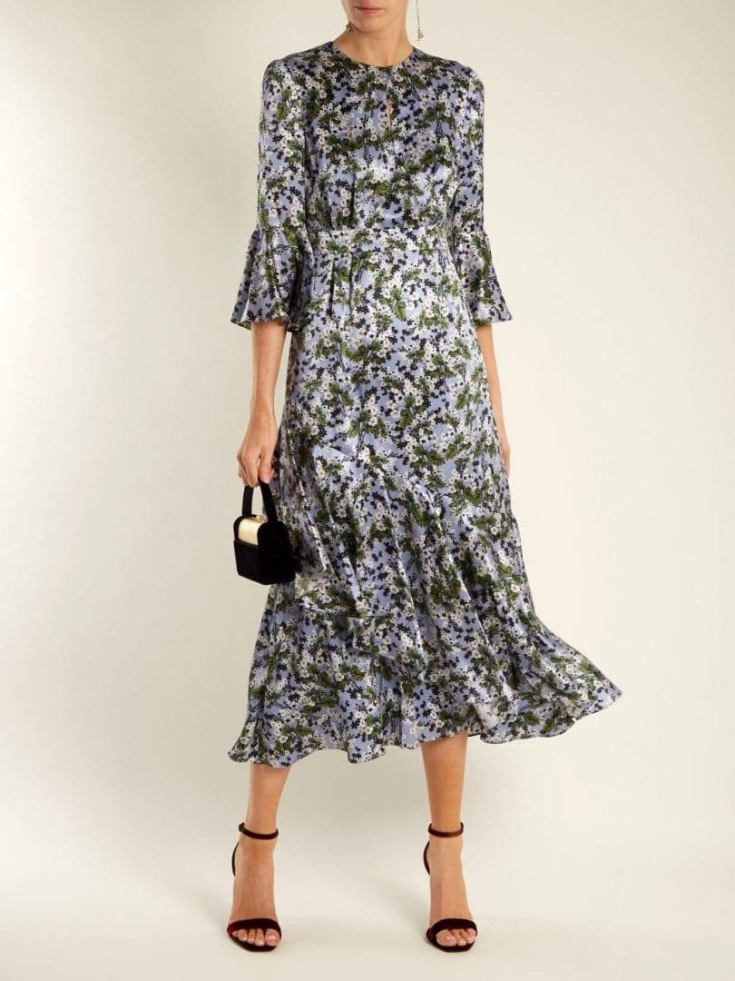 b5c4163bf332 ERDEM Florence Fluted Cuff Silk Satin Powder Blue / Floral Printed Dress