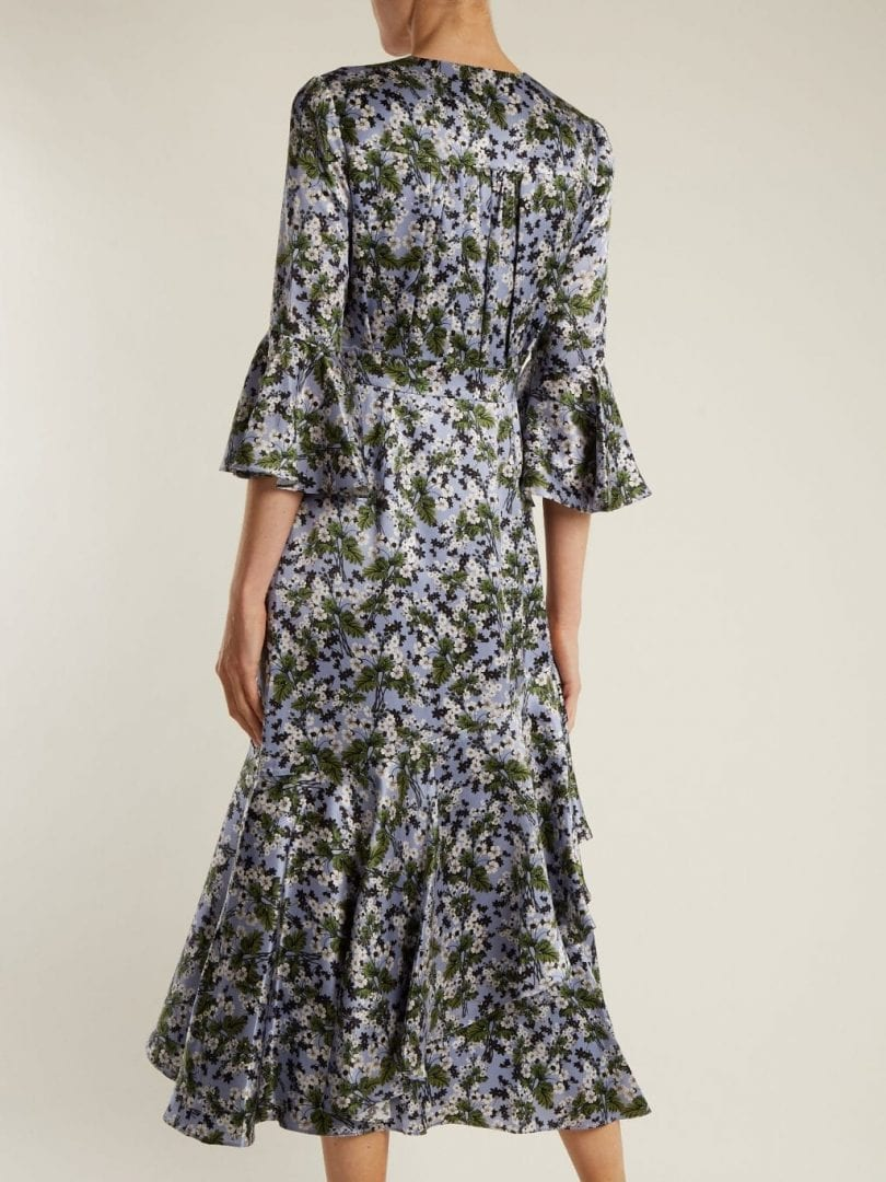 ERDEM Florence Fluted Cuff Silk Satin Powder Blue / Floral Printed Dress