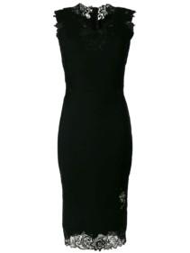 ERMANNO SCERVINO Sleeveless Lace Trim Black Dress